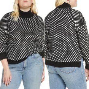 BP. Black polka dot mockneck sweater 4X